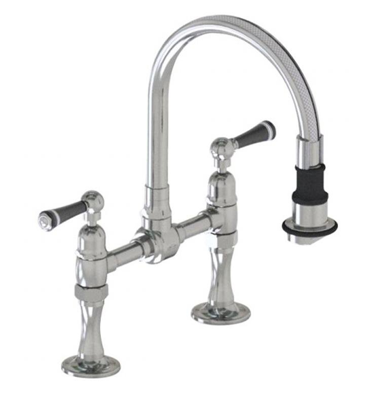 "Jaclo 1215-M-BSS Steam Valve 8 1/2"" Double Handle Bridge/Deck Mounted Pullout Swivel Spout Kitchen Faucet With Finish: Brushed Stainless Steel And Handles: Metal Lever"