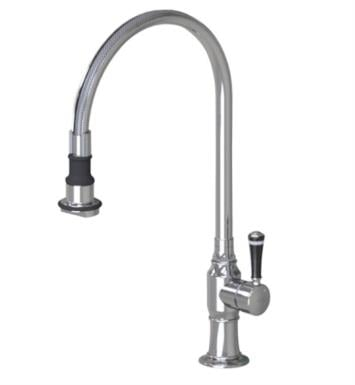 "Jaclo 1072-BC-PSS Steam Valve 10"" Right Side Single Handle Deck Mounted Pullout Swivel Spout Kitchen Faucet With Finish: Polished Stainless Steel And Handles: Black Ceramic Contemporary Lever"