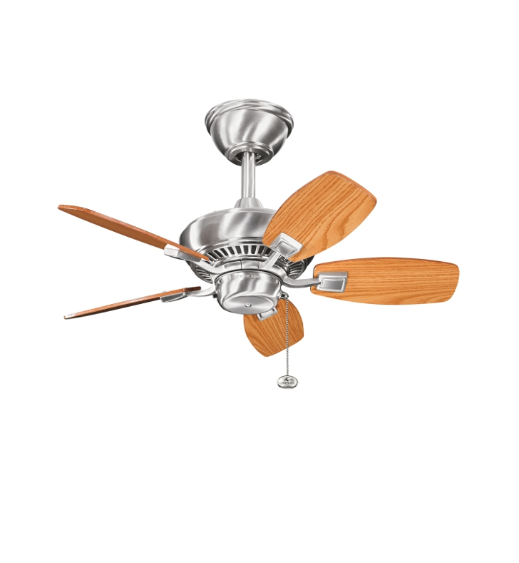 "Kichler 300103BSS Canfield 30"" Outdoor Ceiling Fan with 5 Blades and Downrod"