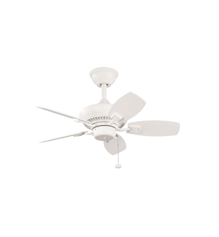 "Kichler 300103SNW Canfield 30"" Outdoor Ceiling Fan with 5 Blades and Downrod"