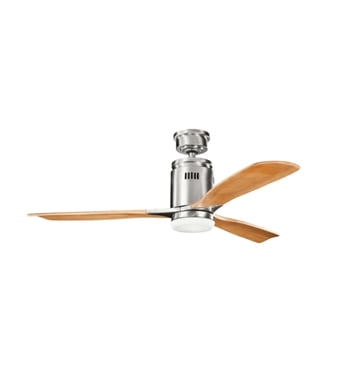 "Kichler 300145BSS Ridley 52"" Indoor Ceiling Fan with 3 Blades, Cool-Touch Remote and Downrod"