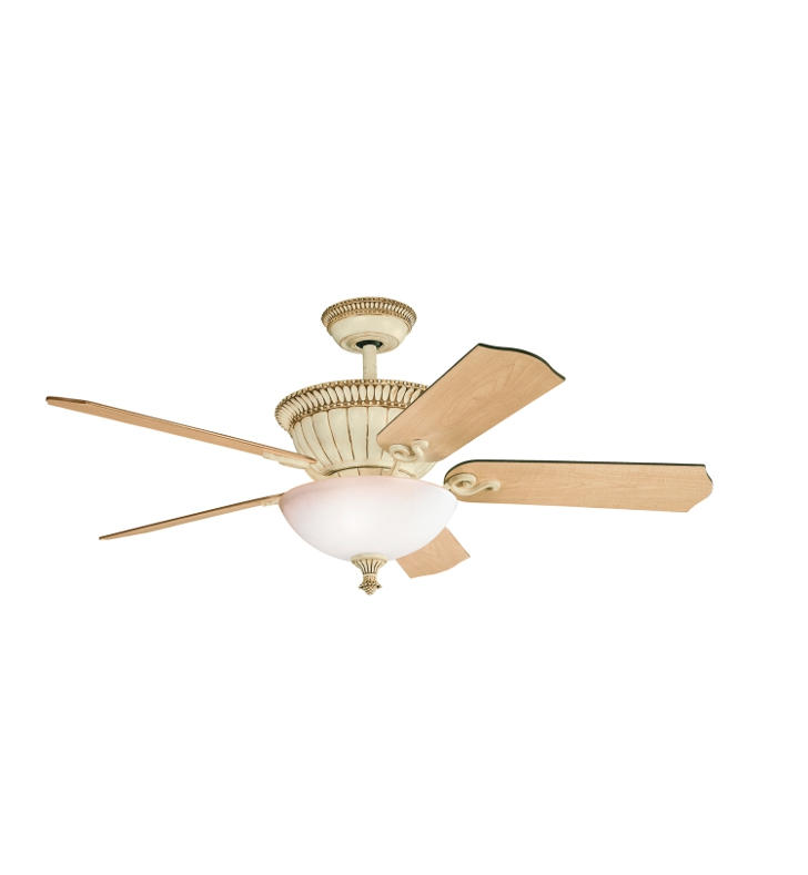 "Kichler 300012AW Larissa 52"" Indoor Ceiling Fan with 5 Blades, Cool-Touch Remote and Downrod"