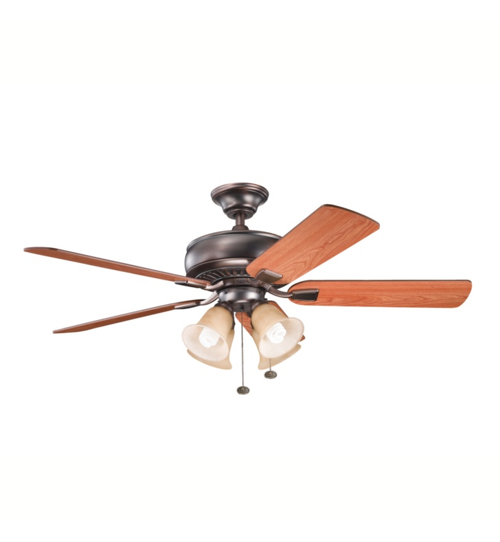 "Kichler 339401OBB Saxon Premier 52"" Indoor Ceiling Fan with 5 Blades and Downrod"