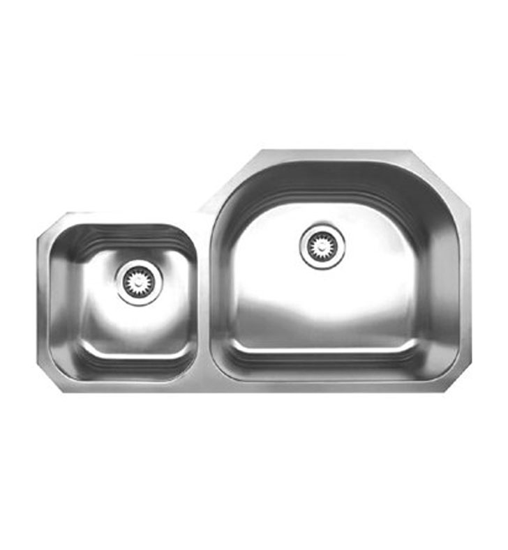 Whitehaus WHNDBU3721 Noah's Collection Brushed Stainless Steel Double Bowl Undermount Sink