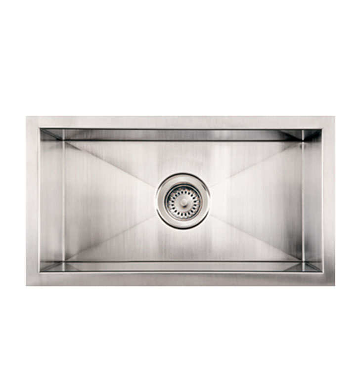 Whitehaus WINEHAUS Noah's Collection Brushed Stainless Steel Commercial Winehaus Single Bowl Undermount Sink