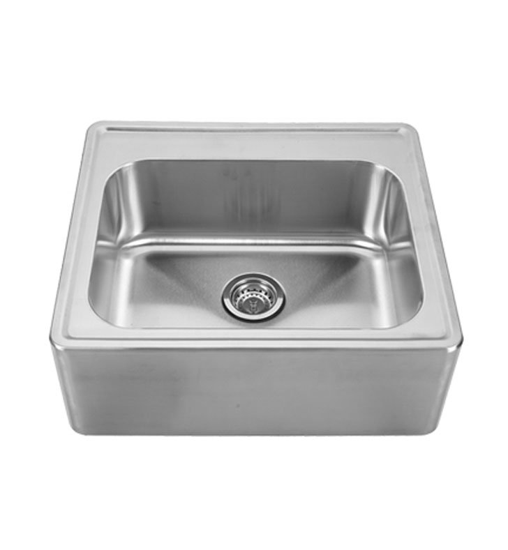 Whitehaus WHNAP2522 Noah's Collection Brushed Stainless Steel Single Bowl Drop-in Sink with a Seamless Customized Front Apron