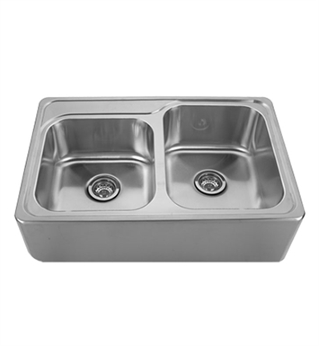 Whitehaus WHNAP3322 Noah's Collection Brushed Stainless Steel Double Bowl Drop-in Sink with a Seamless Customized Front Apron