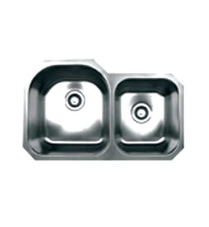 Whitehaus WHNDBU3220 Noah's Collection Brushed Stainless Steel Double Bowl Undermount Sink