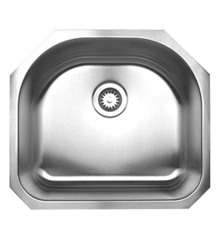 Whitehaus WHNU2119 Noah's Collection Brushed Stainless Steel Single Bowl (D-bowl) Undermount Sink