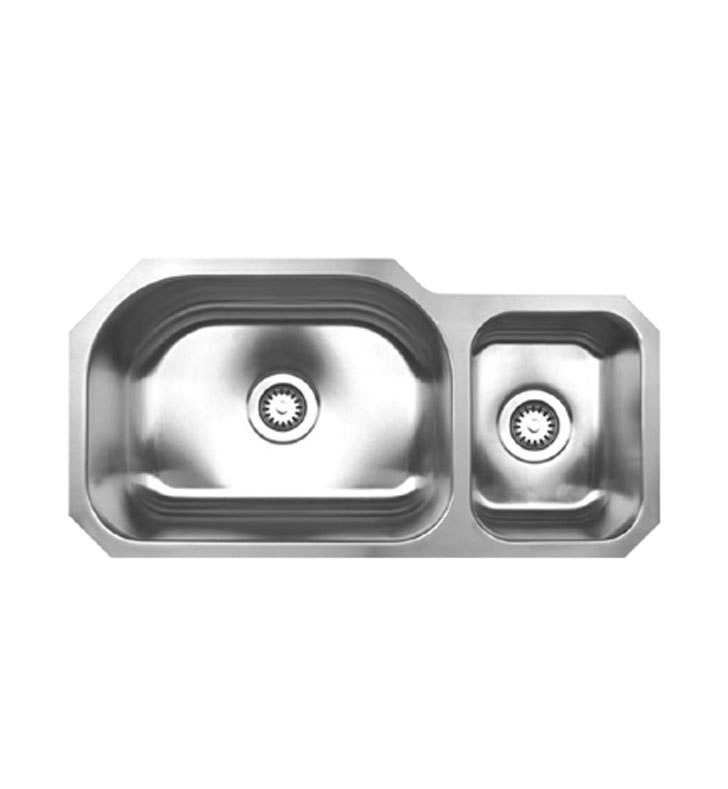 Whitehaus WHNDBU3317 Noah's Collection Brushed Stainless Steel Double Bowl Undermount Sink