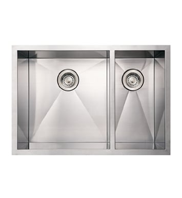 Whitehaus WHNCMD2920 Noah's Collection Brushed Stainless Steel Commercial Double Bowl Undermount Sink