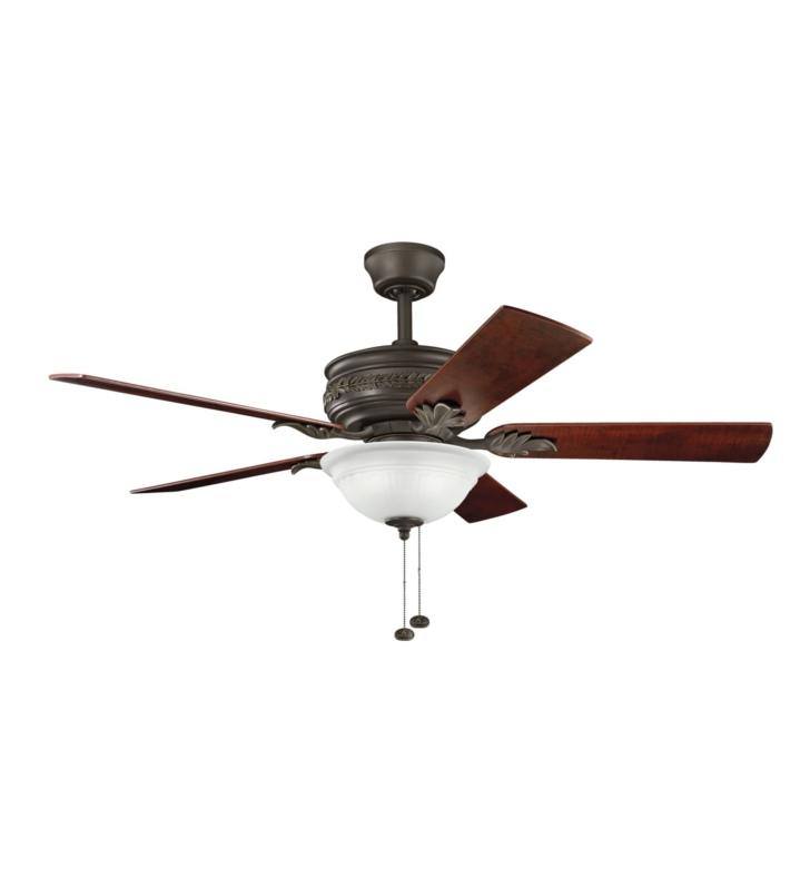 "Kichler 300158SNB Athens 52"" Indoor Ceiling Fan with 5 Blades and Downrod"