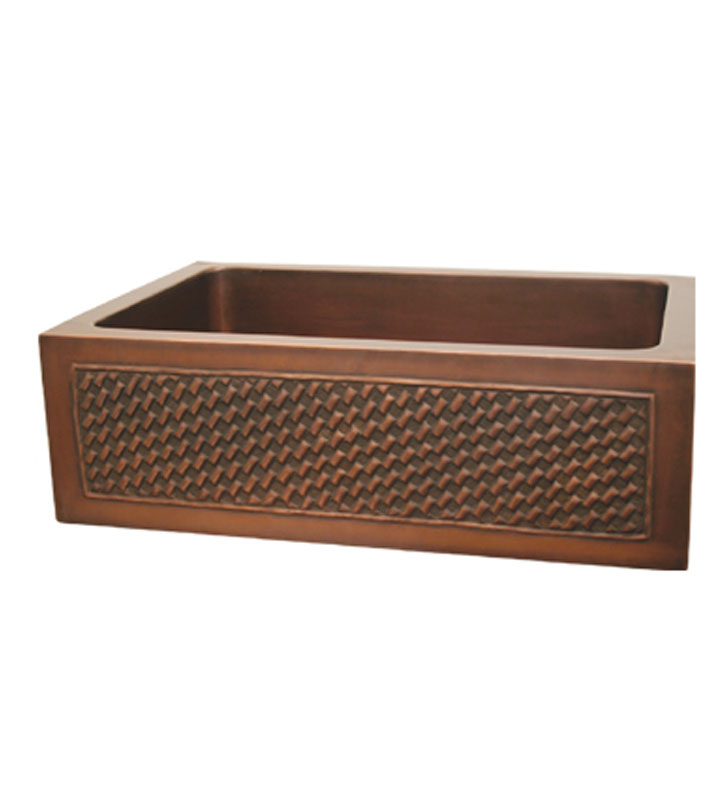 Whitehaus WH3020COFCBW Copperhaus Rectangular Undermount Sink with a Basket Weaving Design Front Apron