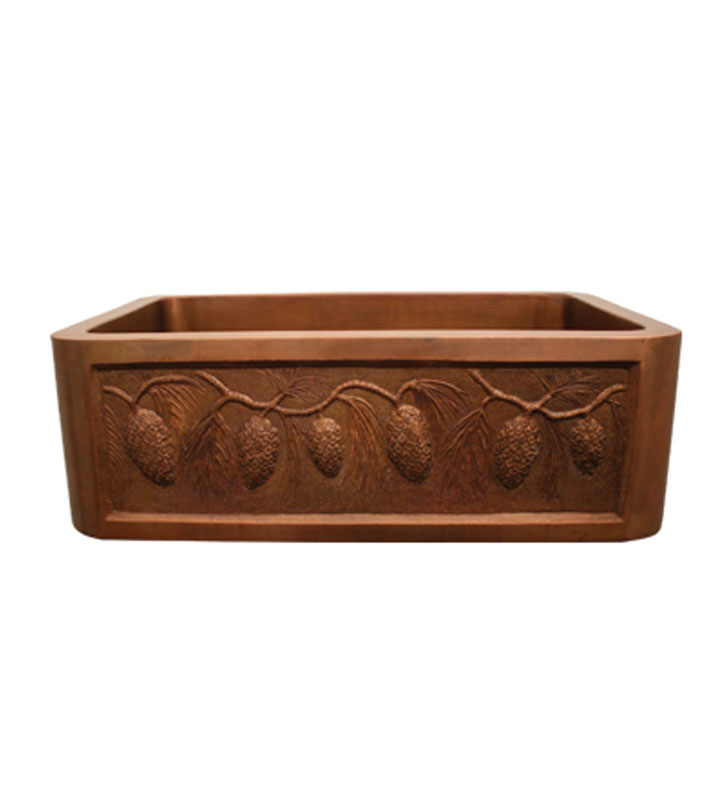 Whitehaus WH3020COFCPC Copperhaus Rectangular Undermount Sink with a Pine Cone Design Front Apron