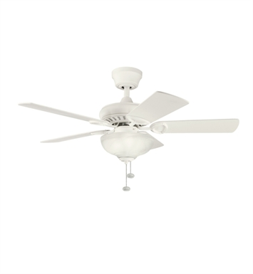 "Kichler 337014SNW Sutter Place Select 42"" Indoor Ceiling Fan with 5 Blades and Downrod"