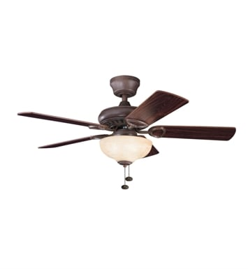 "Kichler 337014TZ Sutter Place Select 42"" Indoor Ceiling Fan with 5 Blades and Downrod"