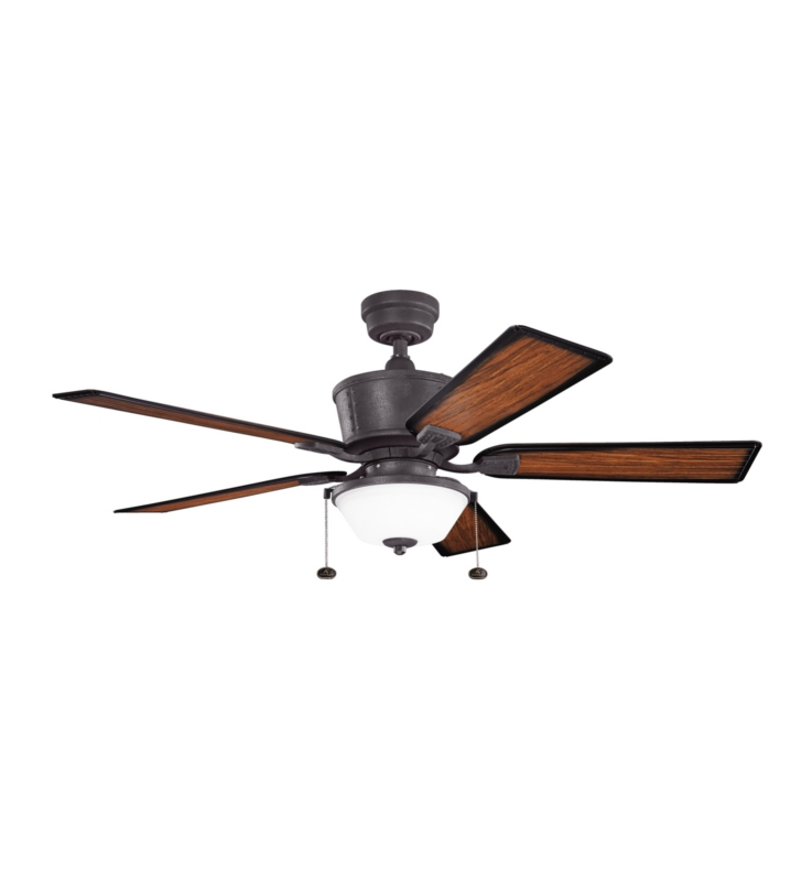 "Kichler 300162DBK Cates 52"" Outdoor Ceiling Fan with 5 Blades and Downrod"