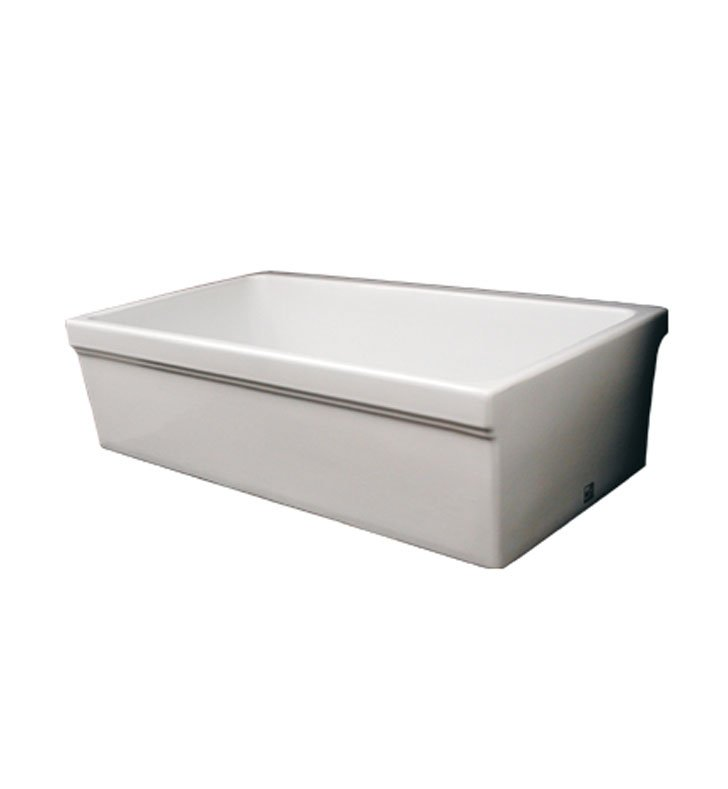 "Whitehaus WHQ530-W Quatro Alcove Reversible Fireclay Sink with Decorative 2 1/2"" Lip on One Side and 2"" Lip on Other With Finish: White"