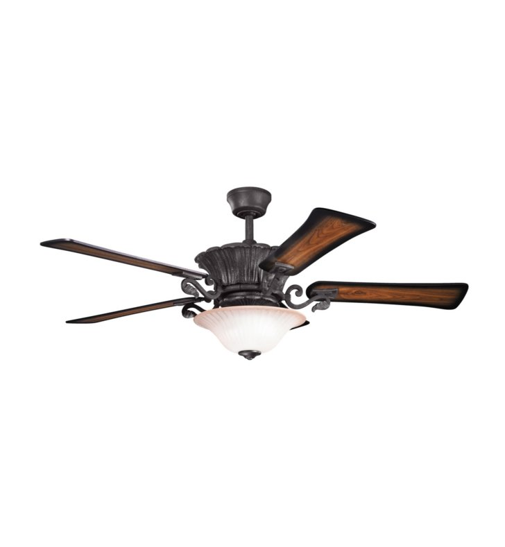 "Kichler 300207DBK Rochelle 56"" Indoor Ceiling Fan with 5 Blades, Cool-Touch Remote and Downrod"