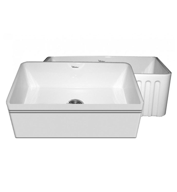 "Whitehaus WHFLAL3018-BI Quatro Alcove Reversible Fireclay Sink with a Decorative 2 1/2"" Lip on One Side and a Fluted Front Apron on the Opposite Side With Finish: Biscuit"