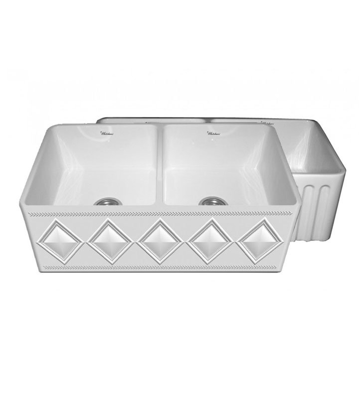 Whitehaus WHFLDI3318-BI Diamondhaus Reversible Series Double Bowl Fireclay Sink with a Diamon Design Front Apron on One Side, and a Fluted Front Apron on the Opposite Side With Finish: Biscuit