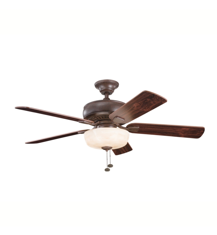 "Kichler 339212TZ Saxon Select 52"" Indoor Ceiling Fan with 5 Blades, Light Kit and Downrod"