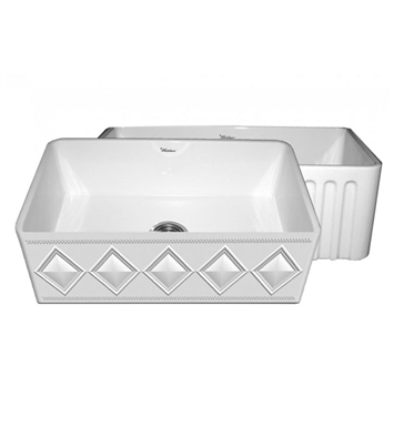 Whitehaus WHFLDI3018-W Diamondhaus Reversible Series Fireclay Sink with a Diamon Design Front Apron on One Side, and a Fluted Front Apron on the Opposite Side With Finish: White