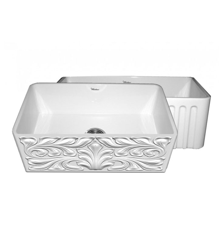 Whitehaus WHFLGO3018 Gothichaus Reversible Series Fireclay Sink with a Gothic Swirl Design Front Apron on One Side, and a Fluted Front Apron on the Opposite Side.