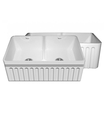 "Whitehaus WHFLQ3318-BLUE Quatro Alcove Double Bowl Reversible Fireclay Sink with a Fluted Front Apron and a Decorative 2 1/2"" Lip on One Side and a Fluted Front Apron on the Opposite Side With Finish: Sapphire Blue"