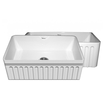 "Whitehaus WHFLQ3018-BLUE Quatro Alcove Reversible Fireclay Sink with a Fluted Front Apron and a Decorative 2 1/2"" Lip on One Side and a Fluted Front Apron on the Opposite Side With Finish: Sapphire Blue"