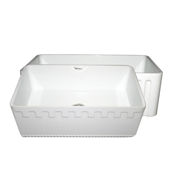 Whitehaus WHFLATN3018-BI Reversible Series Fireclay Sink with an Athinahaus Front Apron One Side and Fluted Front Apron on Opposite Side With Finish: Biscuit