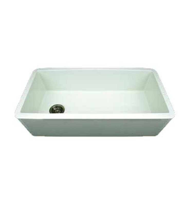 Whitehaus WH3618-BLK Duet Reversible Fireclay Sink with Smooth Front Apron With Finish: Black