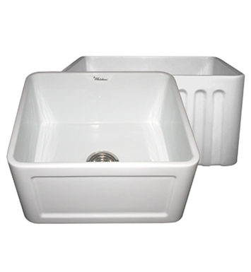 Whitehaus WHFLCON2018-W Reversible Series Fireclay Sink with Concave Front Apron One Side and Fluted Front Apron on Other With Finish: White