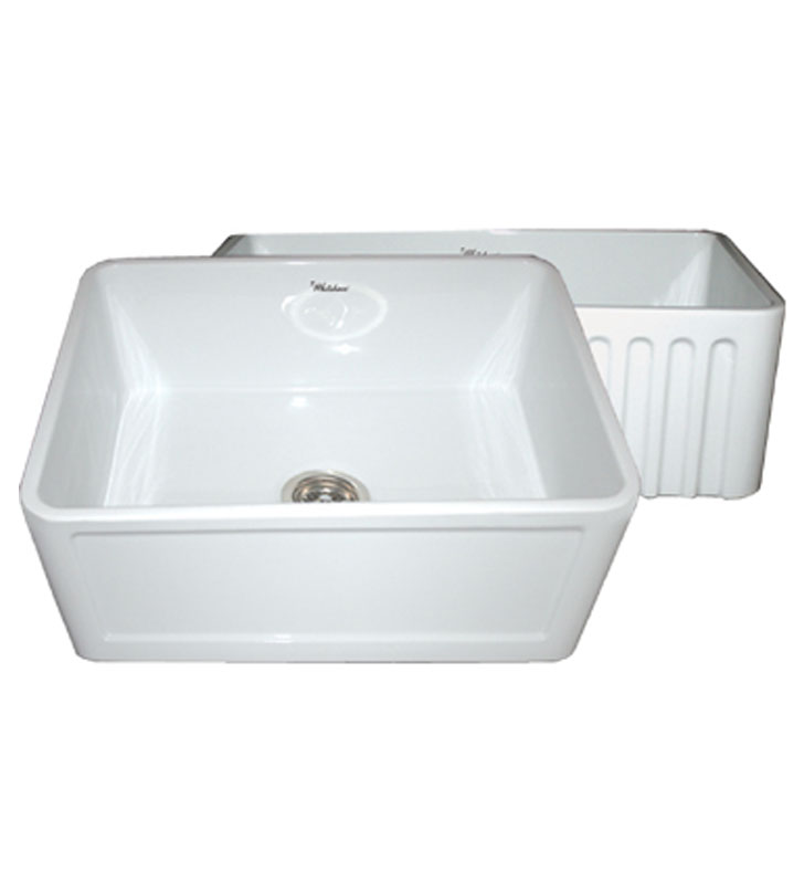 Whitehaus WHFLCON2418 Reversible Series Fireclay Sink with Concave Front Apron One Side and Fluted Front Apron on Other