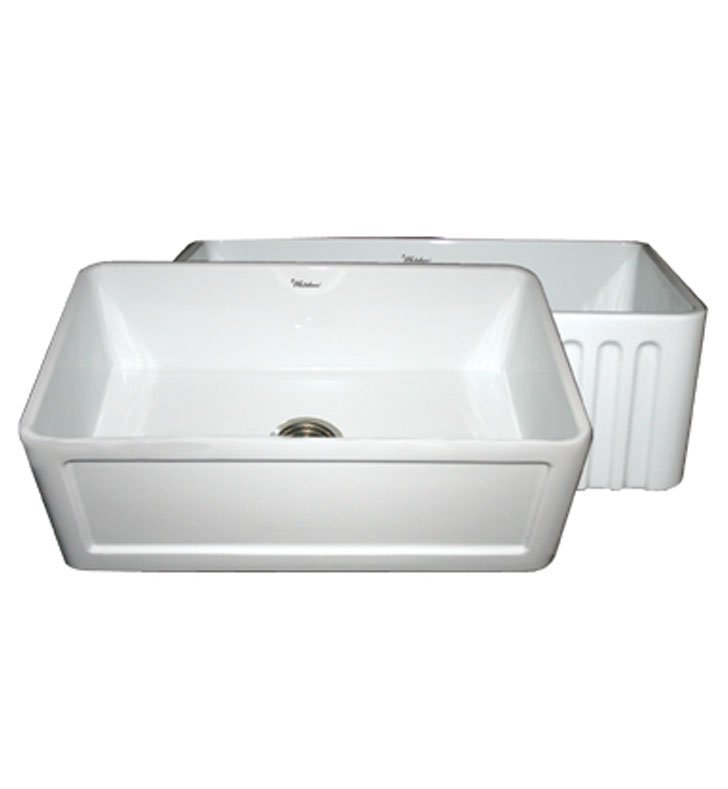 Whitehaus WHFLCON3018-W Reversible Series Fireclay Sink with Concave Front Apron One Side and Fluted Front Apron on Other With Finish: White