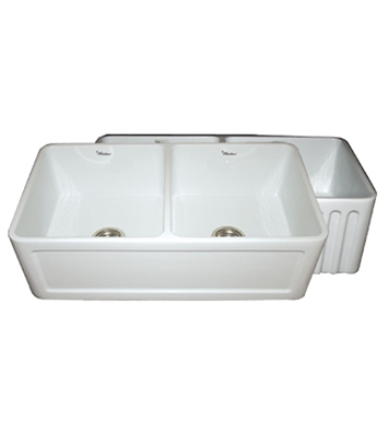 Whitehaus WHFLCON3318 Reversible Series Double Bowl Fireclay Sink with Concave Front Apron One Side and Fluted Front Apron on Other