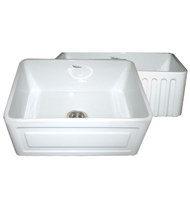 Whitehaus WHFLRPL2418 Reversible Series Fireclay Sink with Raised Panel Front Apron One Side and Fluted Front Apron on Other