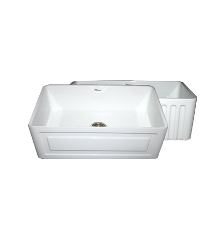 Whitehaus WHFLRPL3018-W Reversible Series Fireclay Sink with Raised Panel Front Apron One Side and Fluted Front Apron on Other With Finish: White