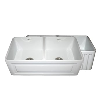 Whitehaus WHFLRPL3318 Reversible Series Fireclay Sink with Raised Panel Front Apron One Side and Fluted Front Apron on Other