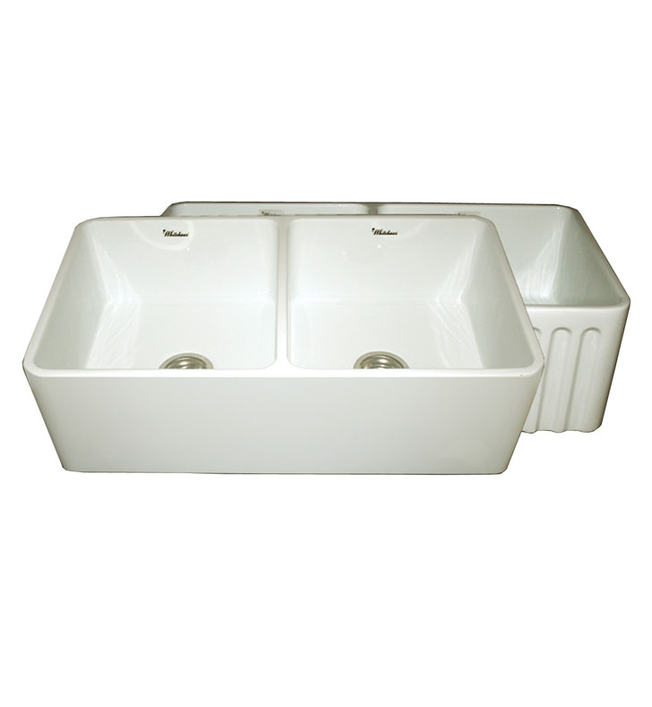 Whitehaus WHFLPLN3318-BI Reversible Series Fireclay Sink with Smooth Front Apron One Side and Fluted Front Apron on Opposite Side With Finish: Biscuit