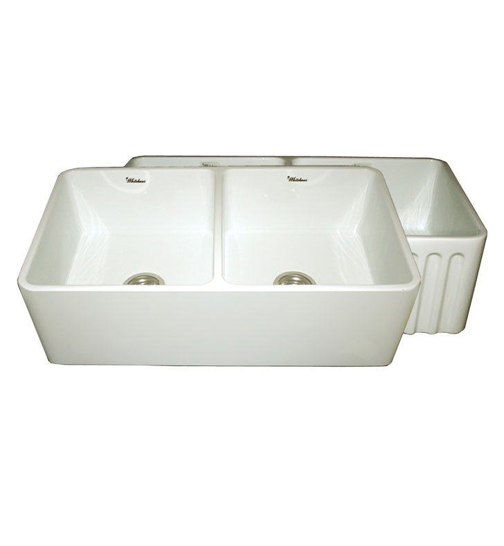 Whitehaus WHFLPLN3318 Reversible Series Fireclay Sink with Smooth Front Apron One Side and Fluted Front Apron on Opposite Side