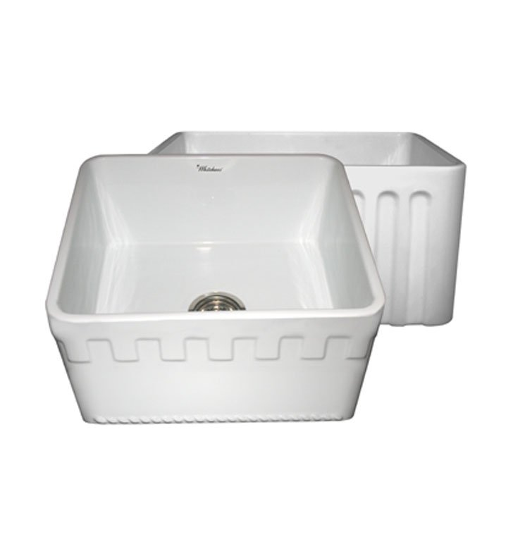 Whitehaus WHFLATN2018-W Reversible Series Fireclay Sink with an Athinahaus Front Apron One Side and Fluted Front Apron on Opposite Side With Finish: White