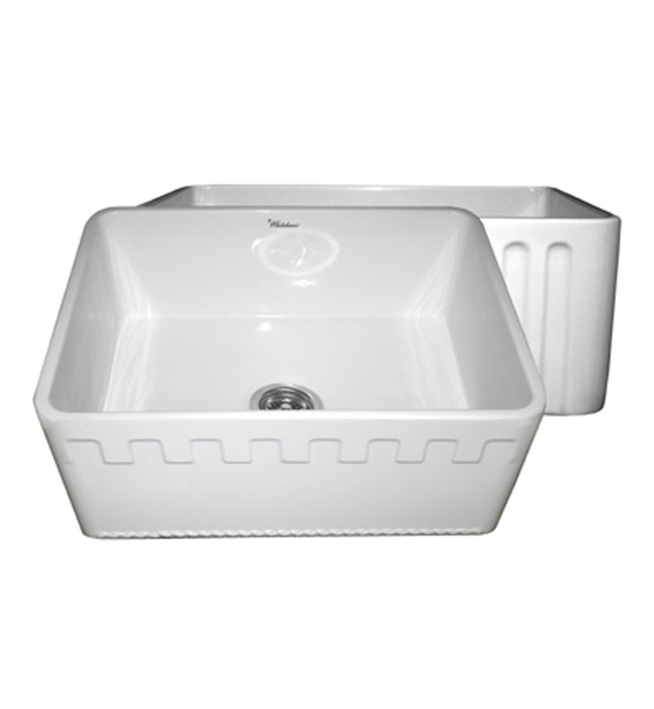 Whitehaus WHFLATN2418-BI Reversible Series Fireclay Sink with an Athinahaus Front Apron One Side and Fluted Front Apron on Opposite Side With Finish: Biscuit
