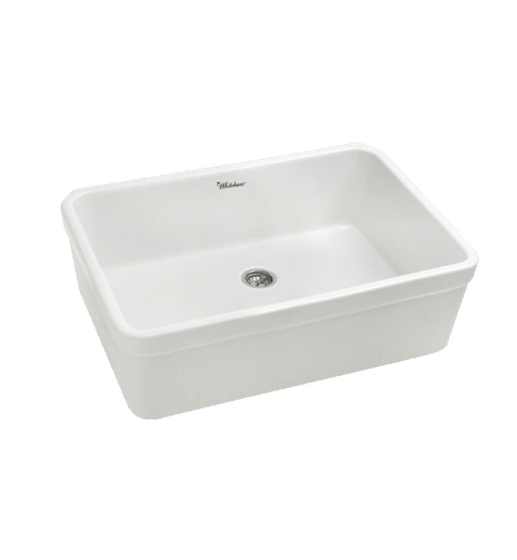 "Whitehaus WHB2620 Basichaus non Reversible Fireclay Sink with Decorative 2"" Lip and a 3 1/2 inch Center Drain"