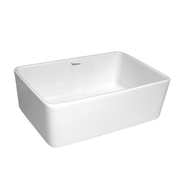 Whitehaus WHB5033 Basichaus non Reversible Smooth Apron Fireclay Sink with 3 1/2 Rear Center Drain
