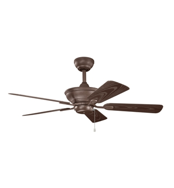 "Kichler 339524TZP Trent 44"" Outdoor Ceiling Fan with 5 Blades and Downrod"