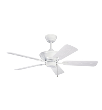 "Kichler 339524WH Trent 44"" Outdoor Ceiling Fan with 5 Blades and Downrod"