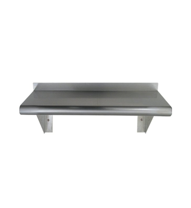 Whitehaus CUWS1036 Culinary Equipment Pre-assembled Stainless Steel Shelf with Bull Nose Edge