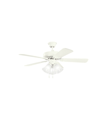 "Kichler 413WH1 Basics Revisited 42"" Indoor Ceiling Fan with 5 Blades, Light Kit and Downrod"