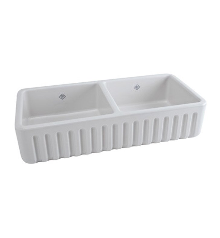 Rohl RC3918WH Shaws Apron Front Fireclay Kitchen Sink in White